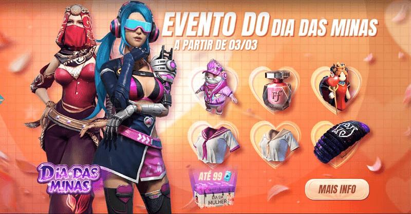 Free Fire: skins de Luxo são recompensas em evento do Dia da Mulher