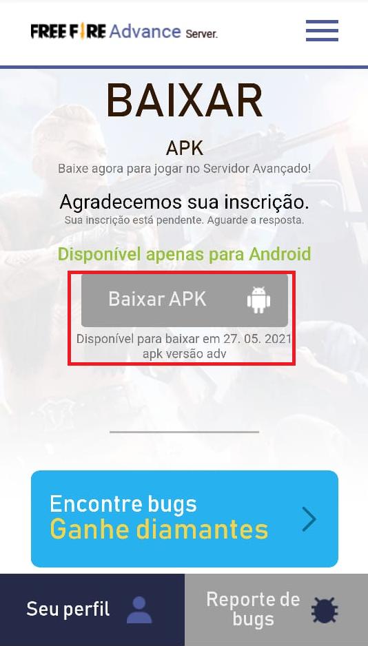 Guia: aprenda a baixar o APK e acessar o servidor avançado do Free Fire