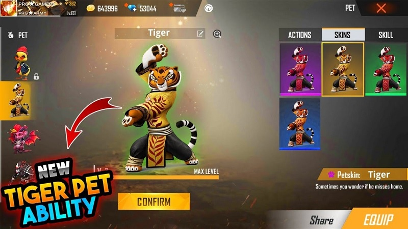Free Fire: Tigre Ninja será o novo pet, aponta vazamentos